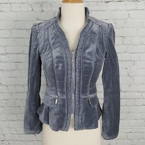 WHBM Pleated Velvet Jacket 00 Steel Blue Gray